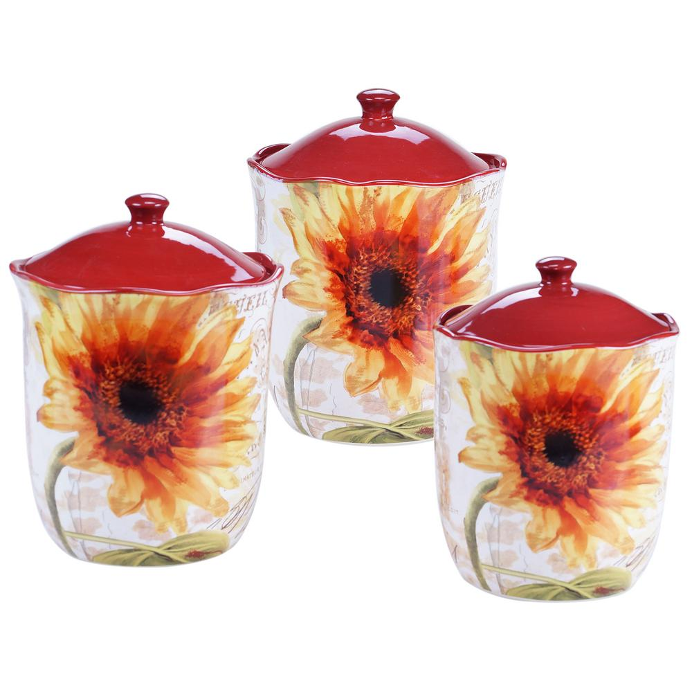 3-piece Paris Sunflower Canister Set