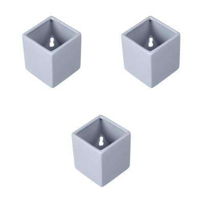 Cube 3-1/2 in. x 4 in. Sky Ceramic Wall Planter (3-Piece)