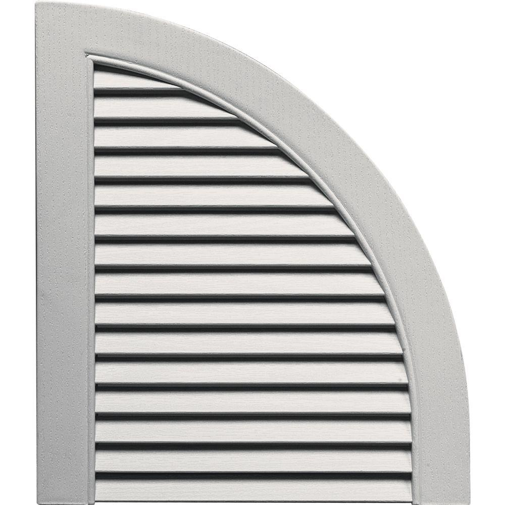 Builders Edge 15 in. x 17 in. Louvered Design Paintable Quarter Round Tops Pair #030