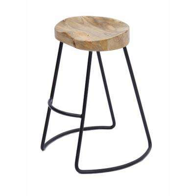 Attractive 23.5 in. Natural Brown Bar Stool