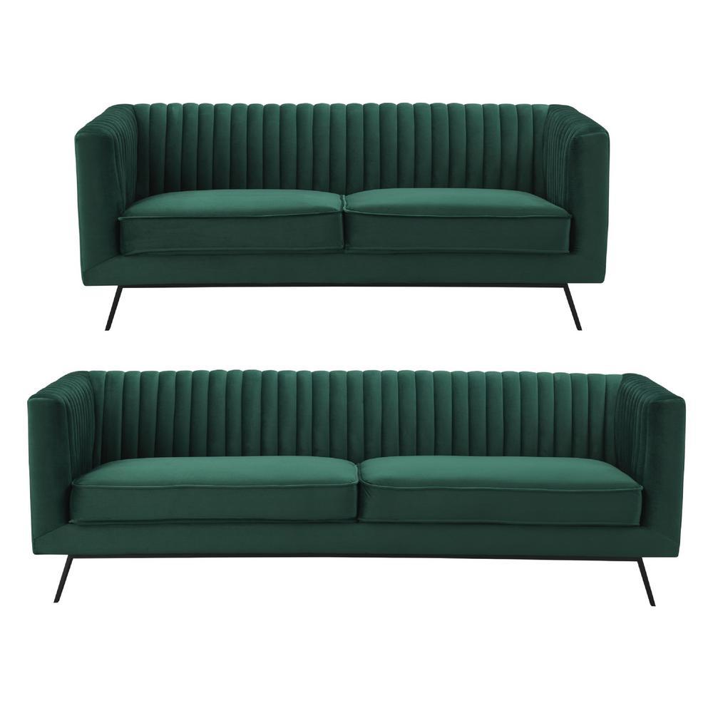 Bon Manhattan Comfort Vandam 2 Piece Hunter Green Velvet 3 Seat Sofa And 2