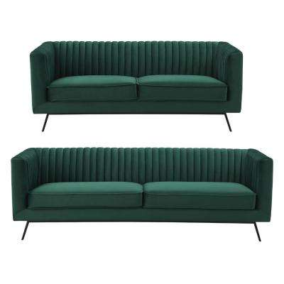 Vandam 2-Piece Hunter Green Velvet 3-Seat Sofa and 2-Seat Loveseat