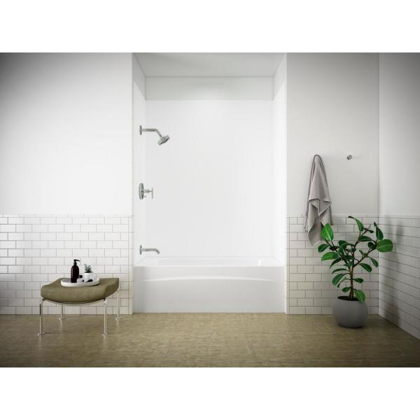 Kohler Choreograph 60 In X 72 In 1 Piece Easy Up Adhesive Alcove Back Wall In White K R97608 0 The Home Depot