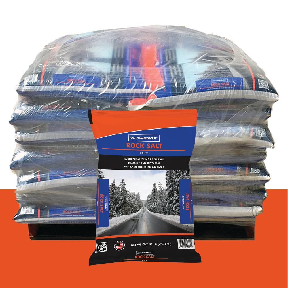 50 lb  Screened Pro-Salt Screened Rock Salt with Corrosion Inhibitor  Anti-Caking Agent, Color Indicator Pallet (49 Bags)