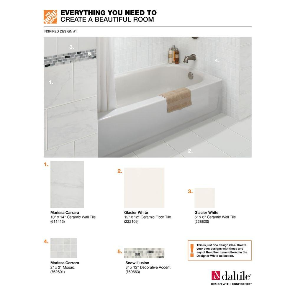 Brilliant Daltile Semi Gloss White 6 In X 6 In Ceramic Wall Tile 12 5 Sq Ft Case Squirreltailoven Fun Painted Chair Ideas Images Squirreltailovenorg