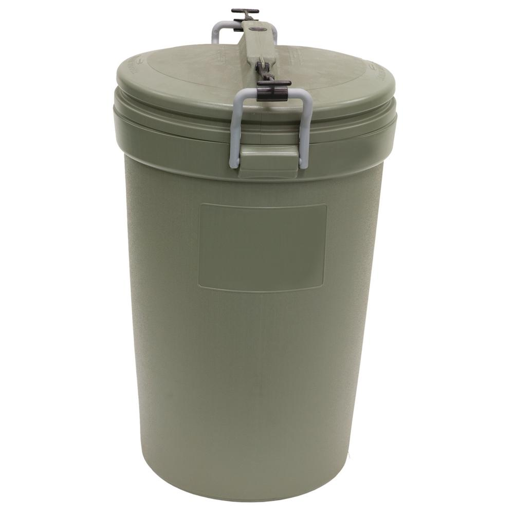 Rubbermaid 32 Gal Olive Steel Outdoor Trash Can With Lid Rm5f8201 The Home Depot