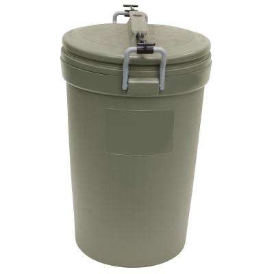 32 Gal. Olive Steel Outdoor Trash Can with Lid