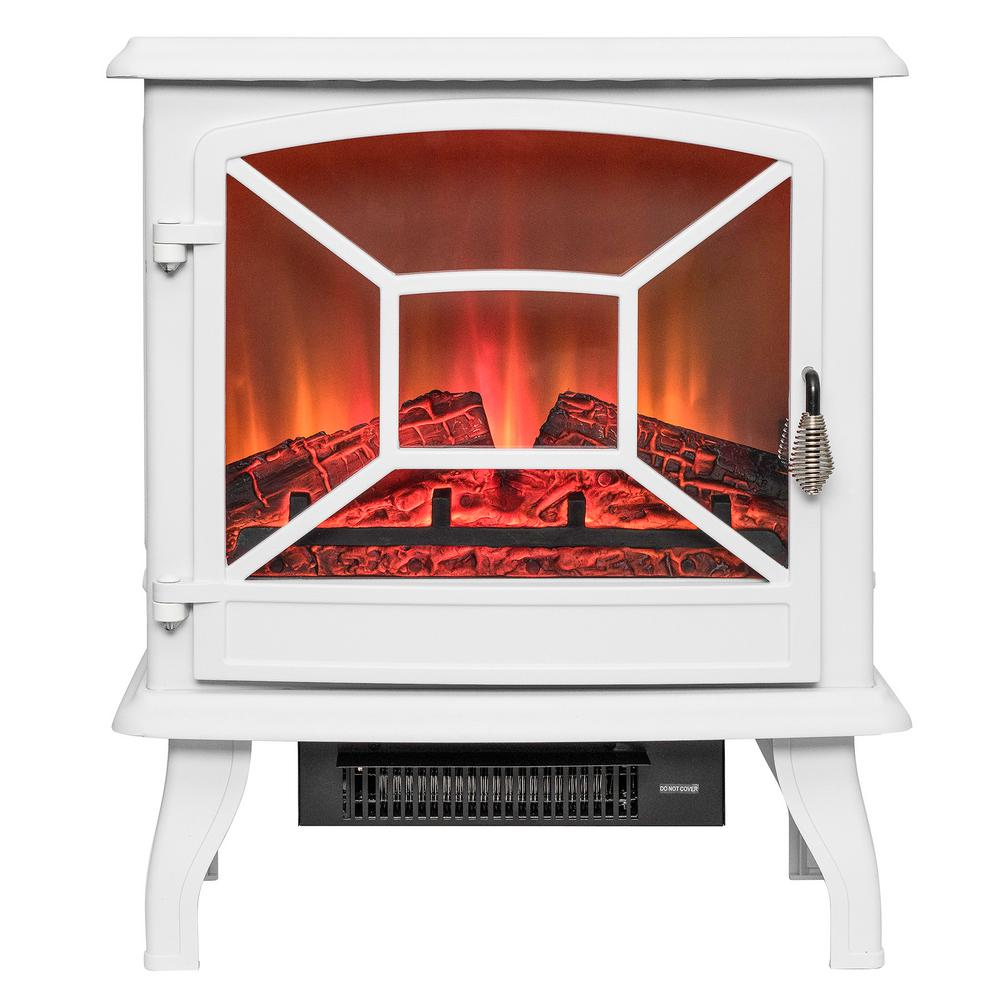 Freestanding Electric Fireplace Mantel Heater In White With Tempered Gl And Logs