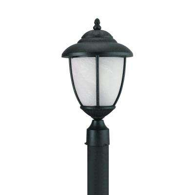 Yorktown 1-Light Outdoor Forged Iron Post Light with LED Bulb