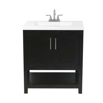 Tufino 31 in. Bath Vanity in Espresso with Cultured Marble Vanity Top in White with White Basin