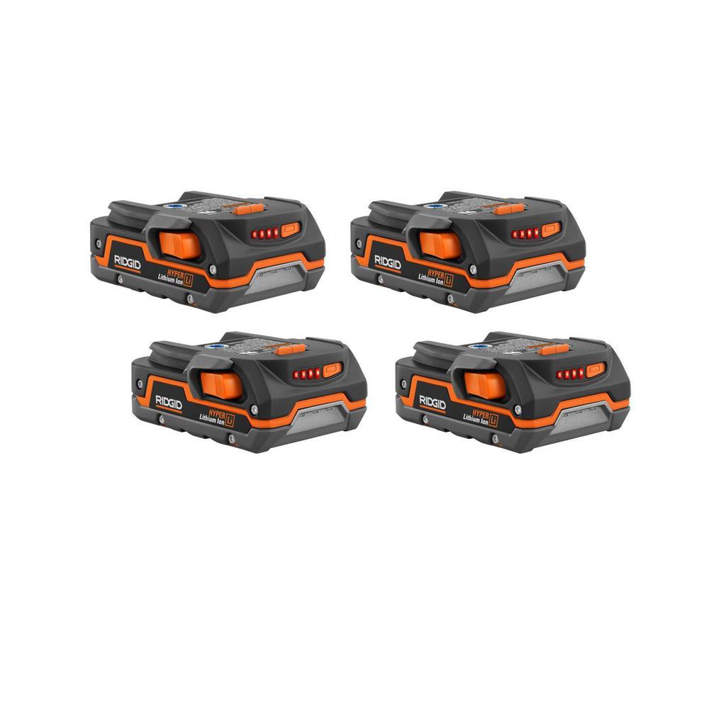 4-Pack Ridgid 18-Volt 1.5 Ah Compact Lithium-Ion Battery