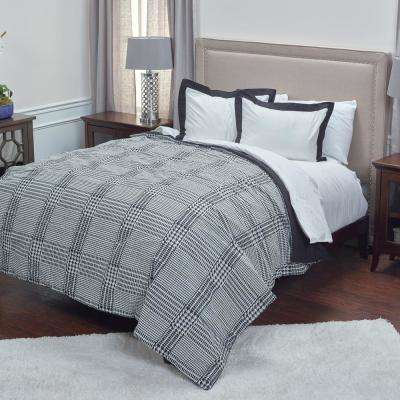 Black Houndstooth Pattern Twin Bed Set (2-Piece)