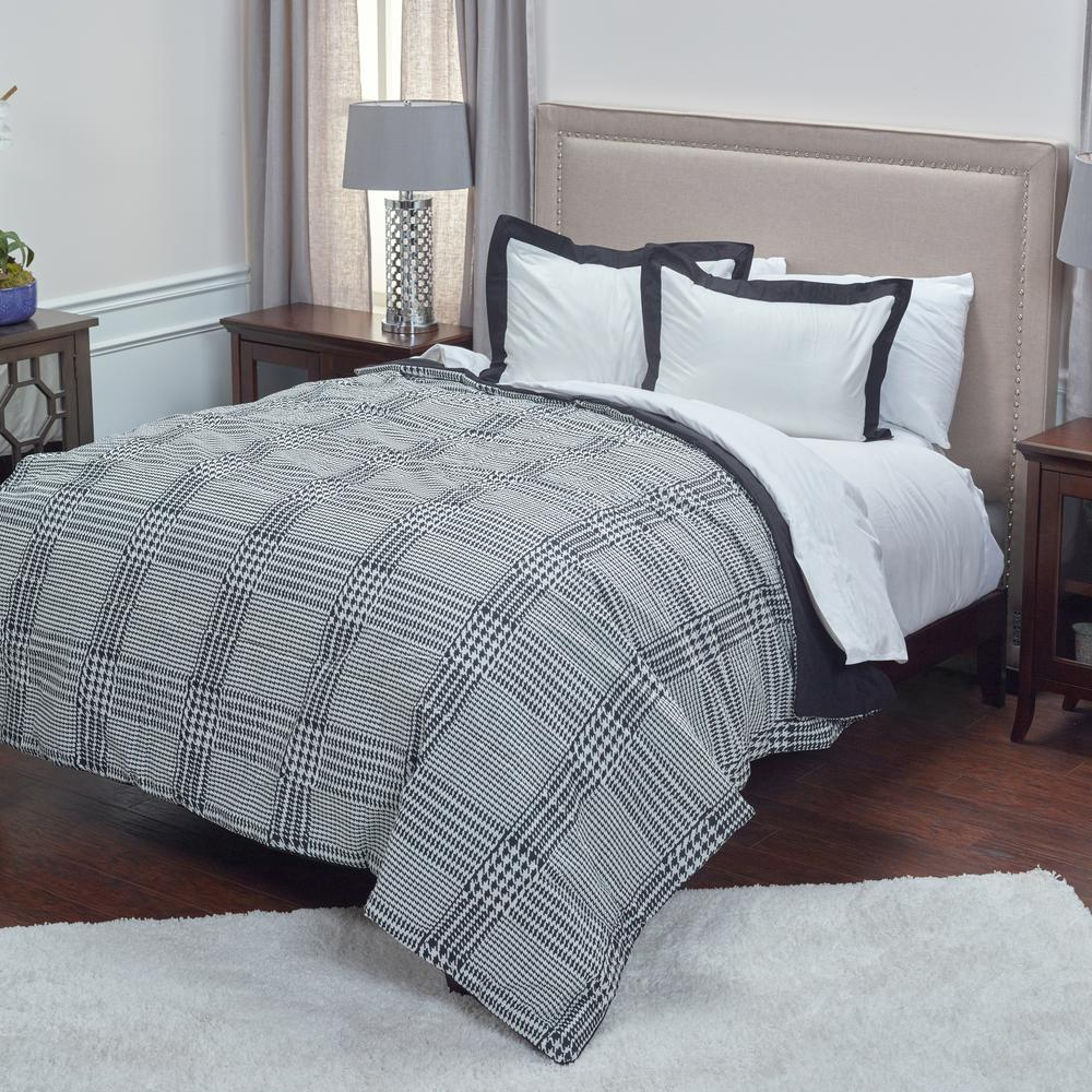 Rizzy Home Black Houndstooth Pattern 3 Piece Queen Bed Set