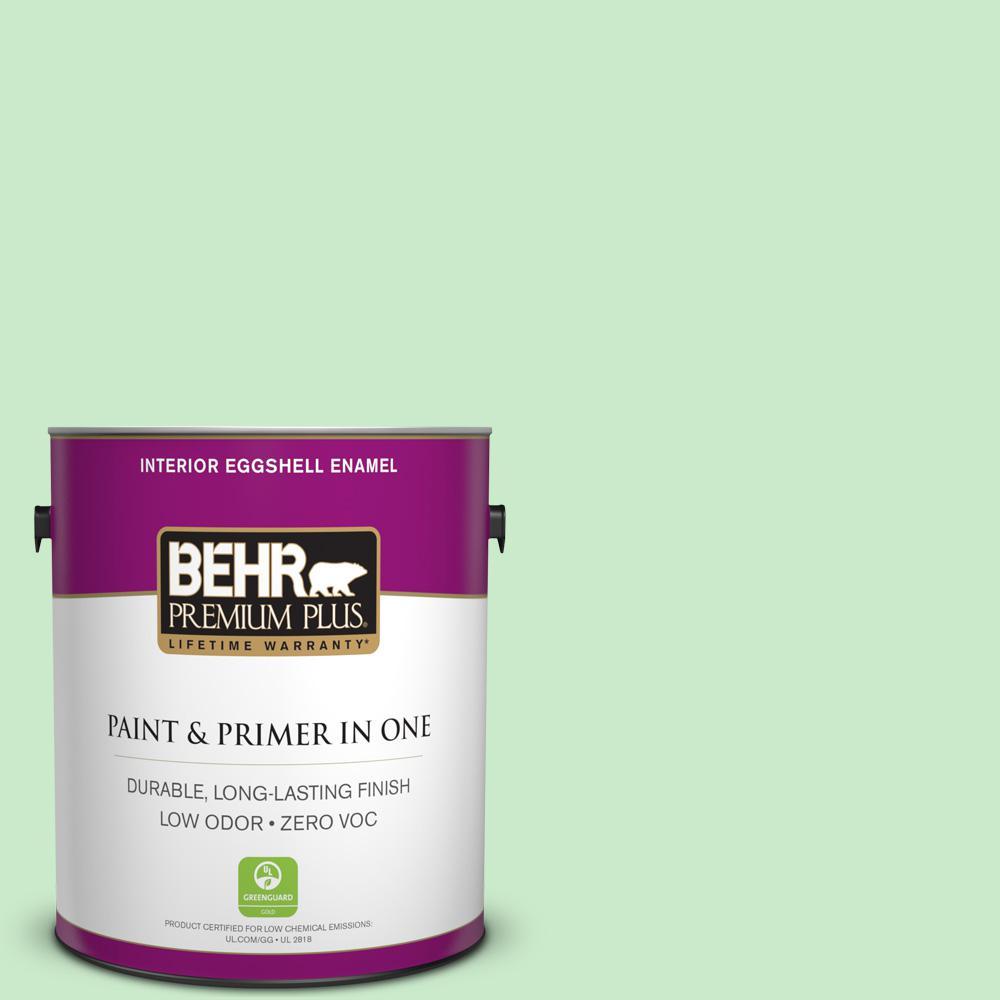 BEHR Premium Plus 1 gal. #P390-2 Chilled Mint Eggshell Enamel Zero VOC Interior Paint and Primer in One