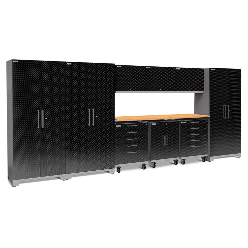 Performance Plus Diamond Plate 2.0 80 in. H x 197 in. W x 24 in. D Garage Cabinet Set in Black (10-Piece)