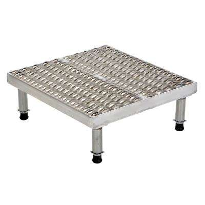24 in. x 24 in. Stainless Steel Adjust Step-Mate Stand - Adjustable Height Range 9.5 in. x 15.5 in. (Serrated Deck)