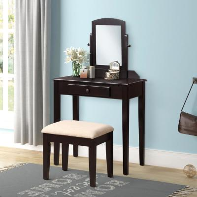 2-Piece Espresso Vanity Set with Mirror and Cushioned Stool