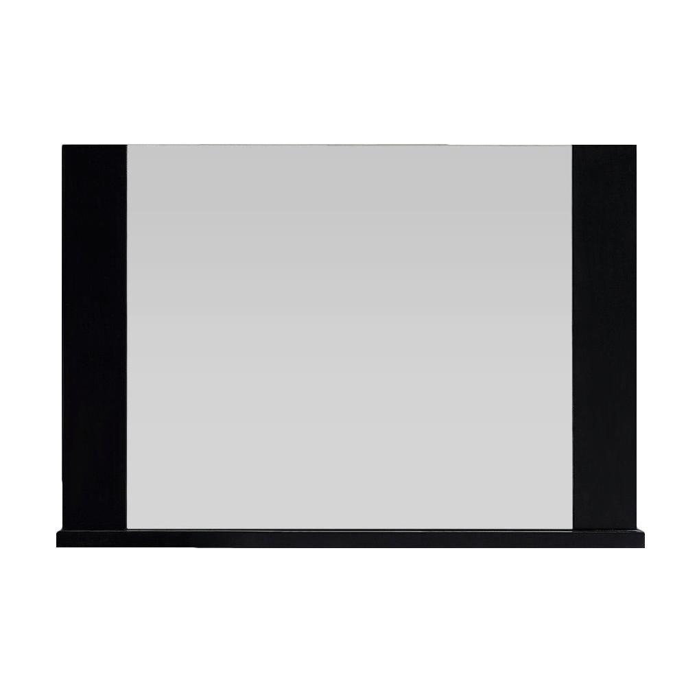 Belle Foret Romeo 25 in. L x 34 in. W Framed Wall Mirror in Black