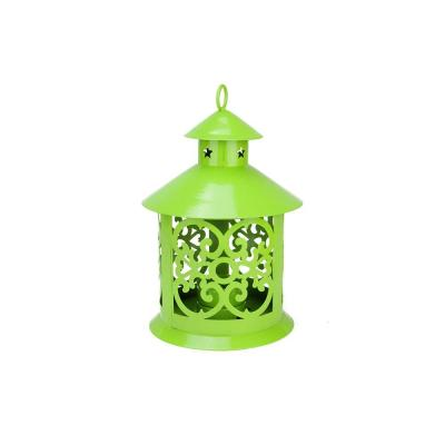 8 in. Shiny Lime Green Votive or Tealight Candle Holder Lantern with Star and Scroll Cutouts