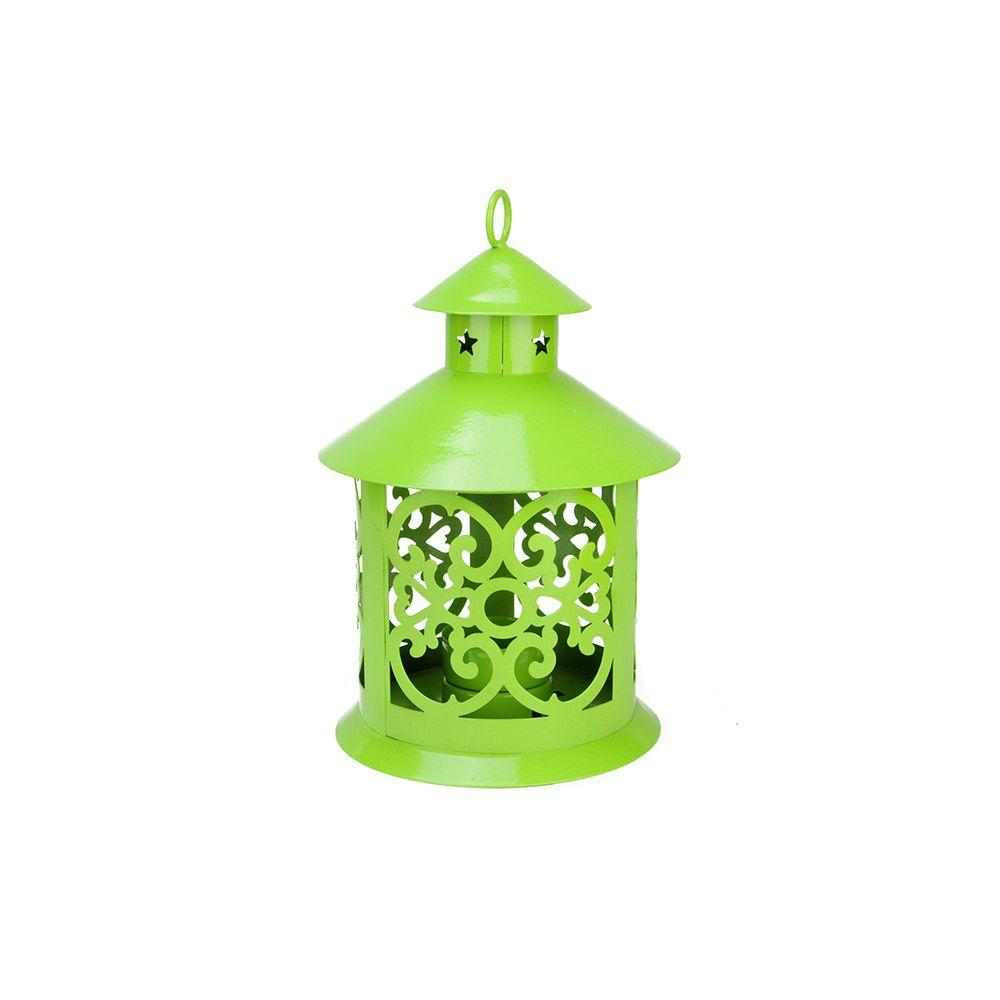 8 in. Shiny Lime Green Votive or Tealight Candle Holder Lantern