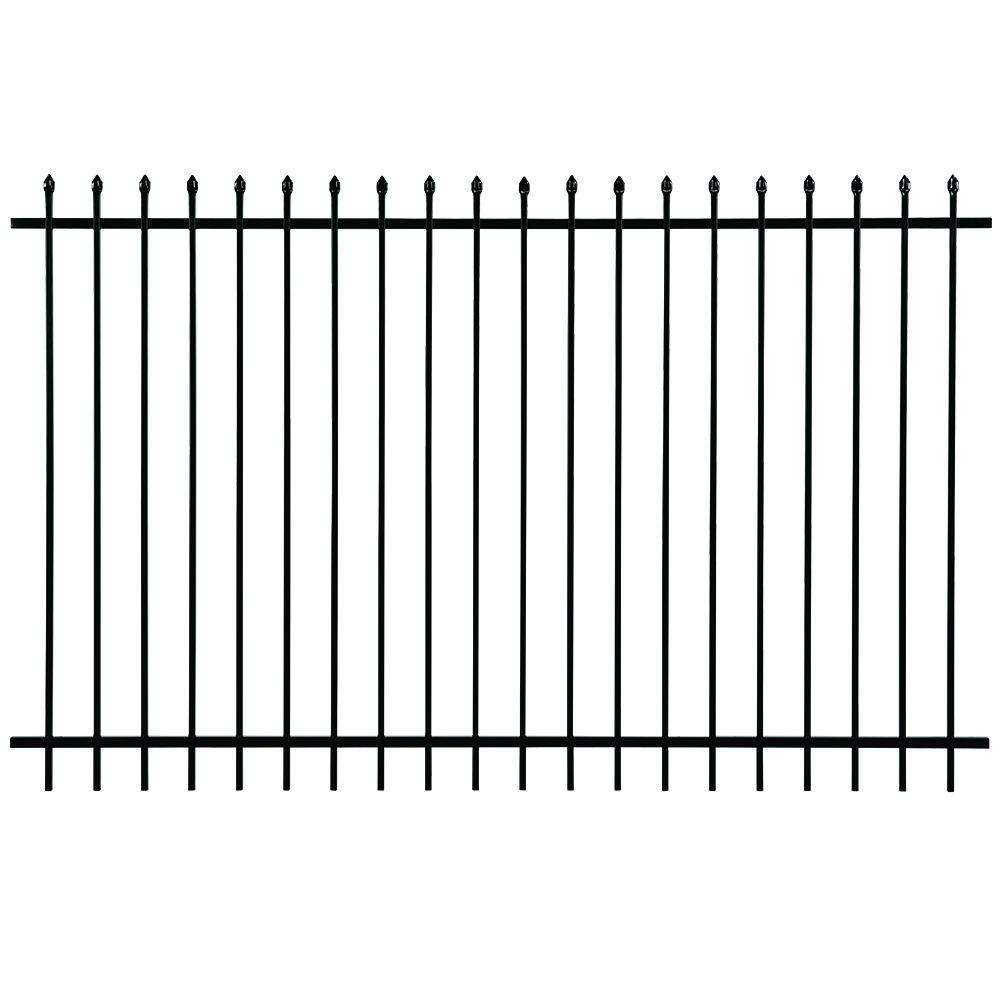 First Alert Pro Series 6 ft. H x 8 ft. W Black Galvanized Steel 2-Rail Fence Panel