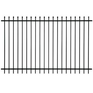 First Alert Pro Series 6 Ft H X 8 W Black Galvanized Steel 2 Rail Fence Panel F22ghds93x70 The Home Depot