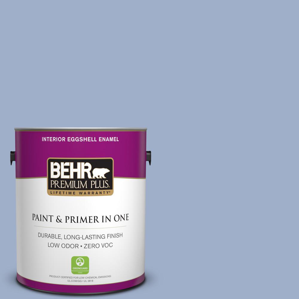 BEHR Premium Plus 1-gal. #610D-4 Bellflower Zero VOC Eggshell Enamel Interior Paint