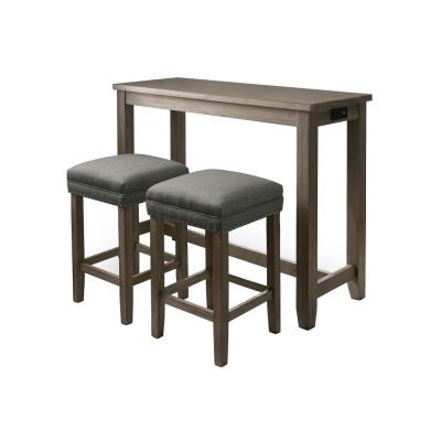 Dremmend 3-Piece Wire-Brushed Gray and Gray Counter Height Table Set with USB Plug