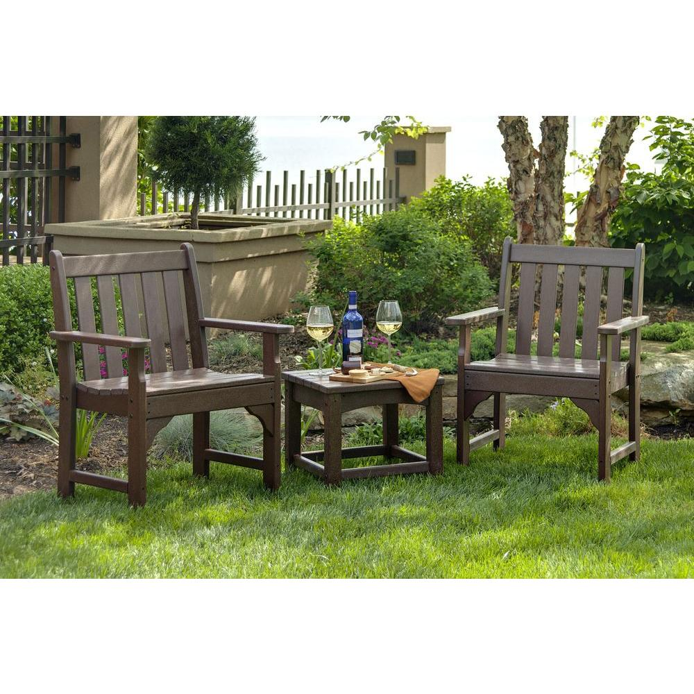 Beau POLYWOOD Vineyard Mahogany 3 Piece Patio Garden Chair Set