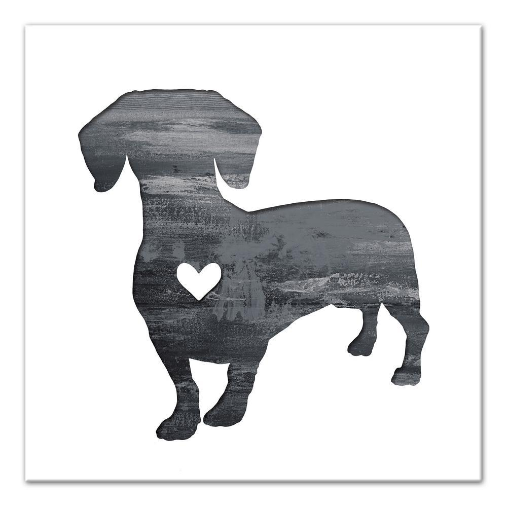 16 in. x 16 in. ''Ink Silhouette Dachshund'' Printed Canv...