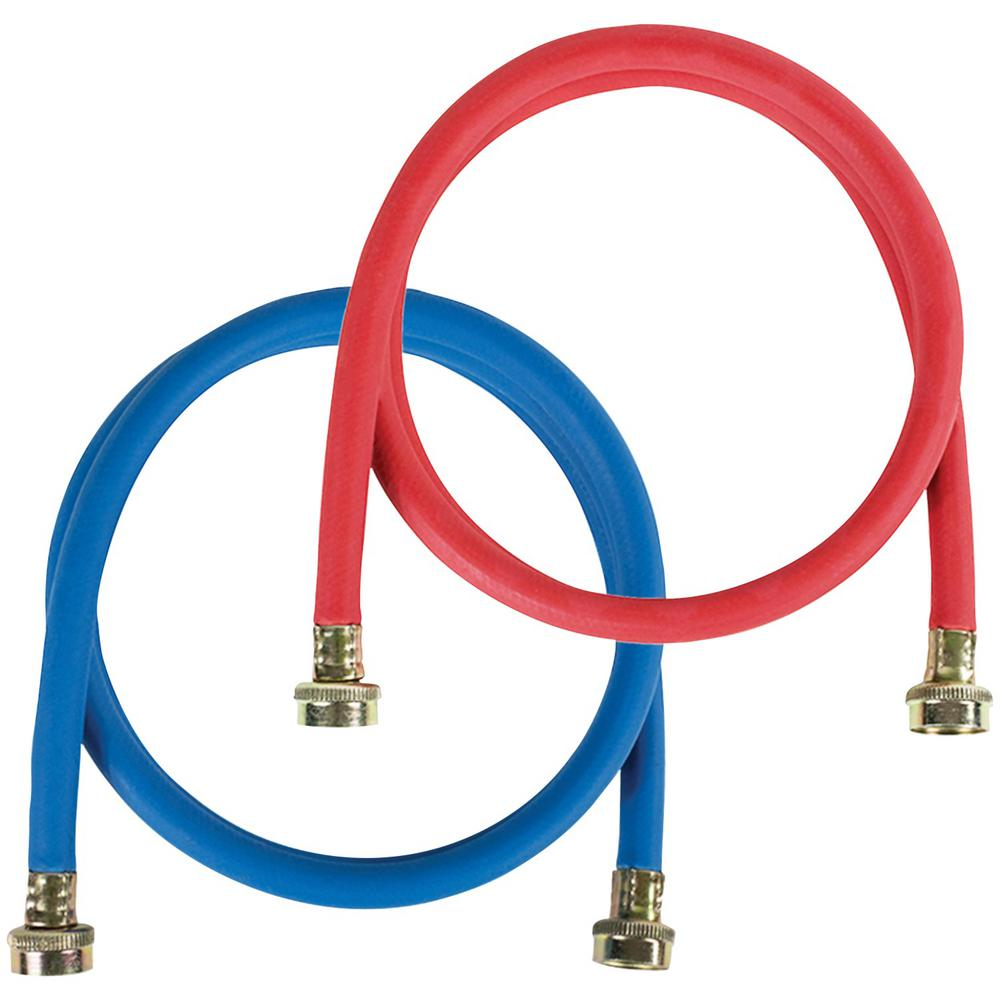 CERTIFIED APPLIANCE ACCESSORIES EPDM 4 ft. Red and Blue Washing Machine Hose (2-Pack) Washing machine hoses should be replaced at least every 5 years, even if they don't look cracked or worn out. To replace both hot and cold-water supply lines, use this 2 pack of 4 ft. red and blue EPDM (Ethylene Propylene Diene Monomer) Washing Machine Hoses from CERTIFIED APPLIANCE ACCESSORIES. These synthetic rubbers washing machine replacement hoses have 2 different colors so you can easily distinguish hot and cold-water supply lines.