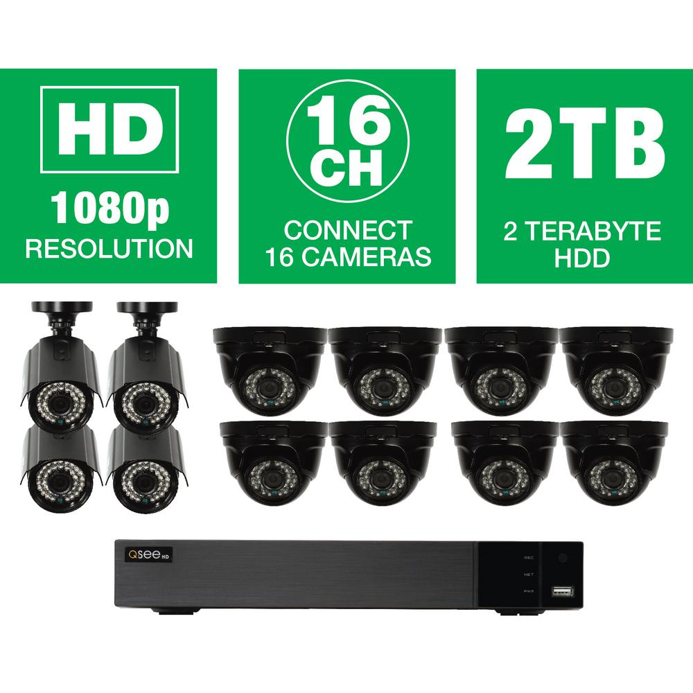 16-Channel 1080p Indoor/Outdoor Surveillance 2TB DVR System with (8) HD Dome