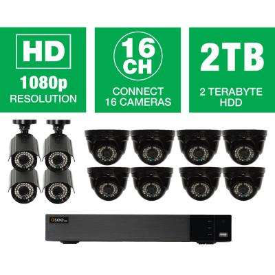 16-Channel 1080p Indoor/Outdoor Surveillance 2TB DVR System with (8) HD Dome Cameras and (4) HD Bullet Cameras