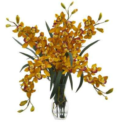 Indoor Cymbidium Orchid Artificial Arrangement in Glass Vase