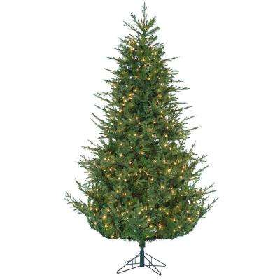 7.5 ft. Pre-Lit Natural Cut Upswept Chesterfield Spruce Artificial Christmas Tree with Power Pole and Clear Lights