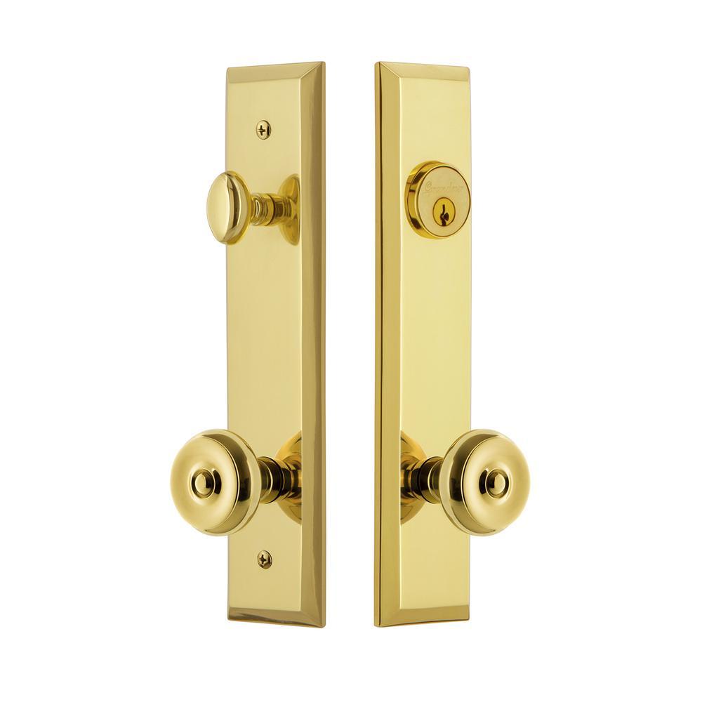 Fifth Avenue Tall Plate 2-3/4 in. Backset Lifetime Brass Door Handleset with Bouton Door Knob