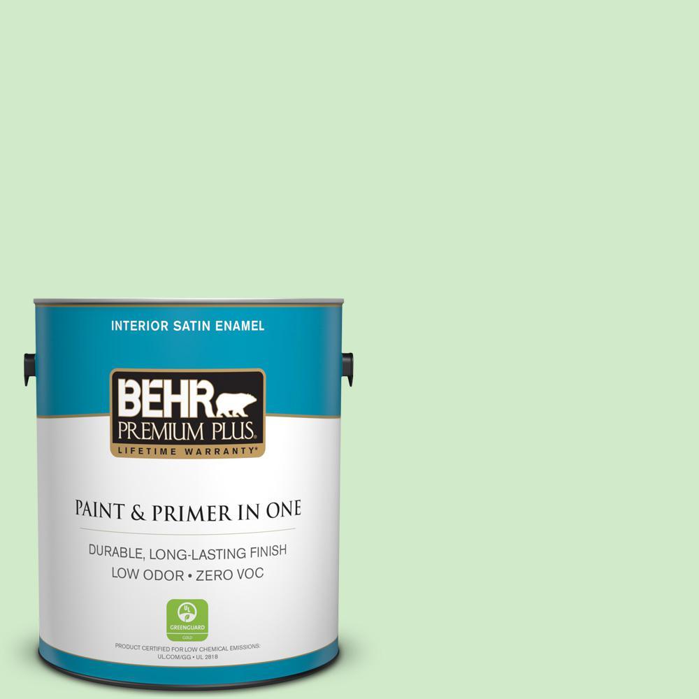 BEHR Premium Plus 1-gal. #440A-3 Mint Frappe Zero VOC Satin Enamel Interior Paint
