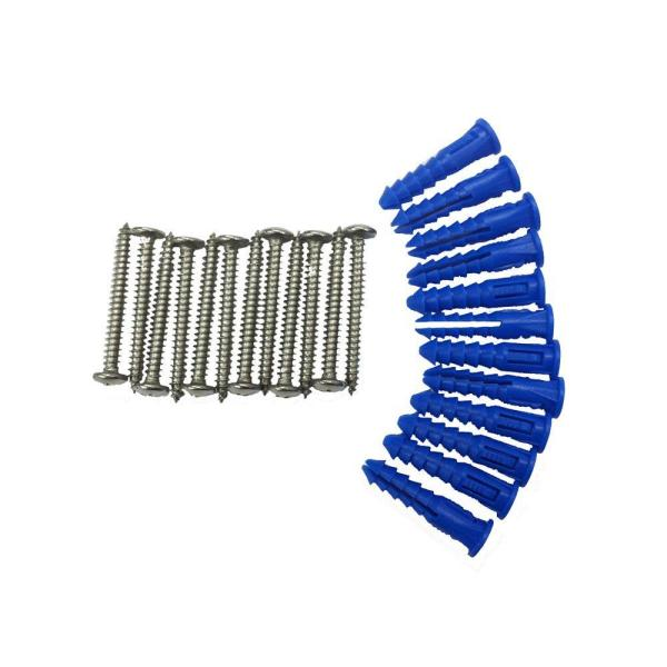 12 Steel Screws and 12 Plastic Wall Anchors for Mounting Steel Pegboard System