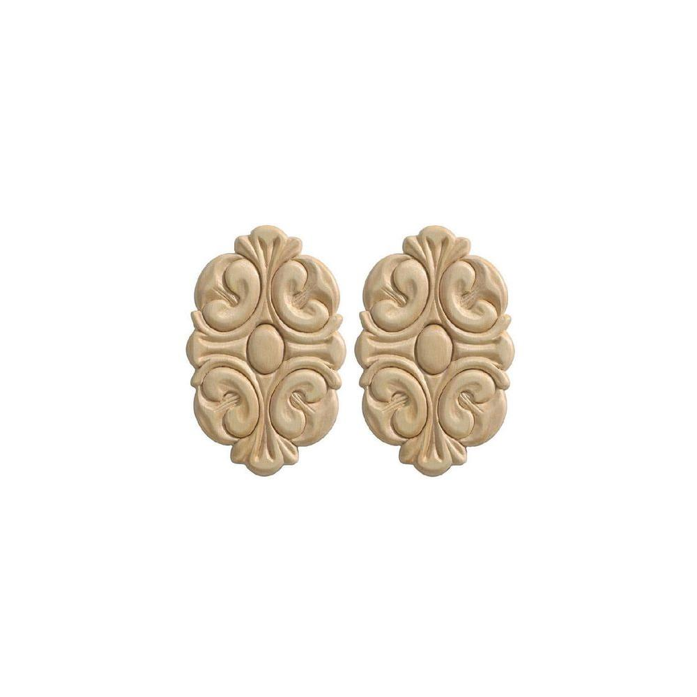 Ornamental Mouldings 14021PK 9/32 in. x 3-1/2 in. x 5-1/2 in. Wood Birch Acanthus Rosette Ornament Moulding (2-Pack)