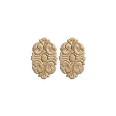 14021PK 9/32 in. x 3-1/2 in. x 5-1/2 in. Wood Birch Acanthus Rosette Ornament Moulding (2-Pack)