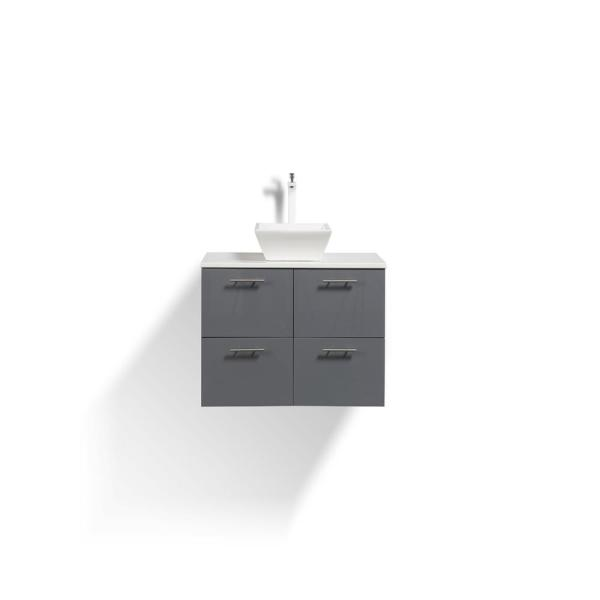 Luxury 40 in. W x 20 in. D Vanity in Gray with Vanity Top in White with Gray Basin
