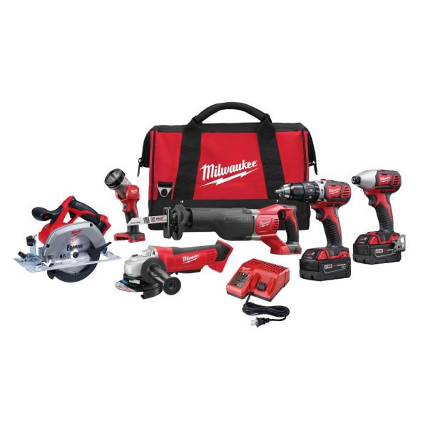 M18 18-Volt Lithium-Ion Cordless Combo Tool Kit (6-Tool) with Two 3.0 Ah Batteries, 1 Charger, 1 Tool Bag