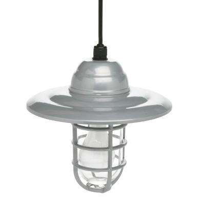 Farmers 1-Light Gray Outdoor Hanging Sconce with 10 in. Reflector and 6 ft. Cord