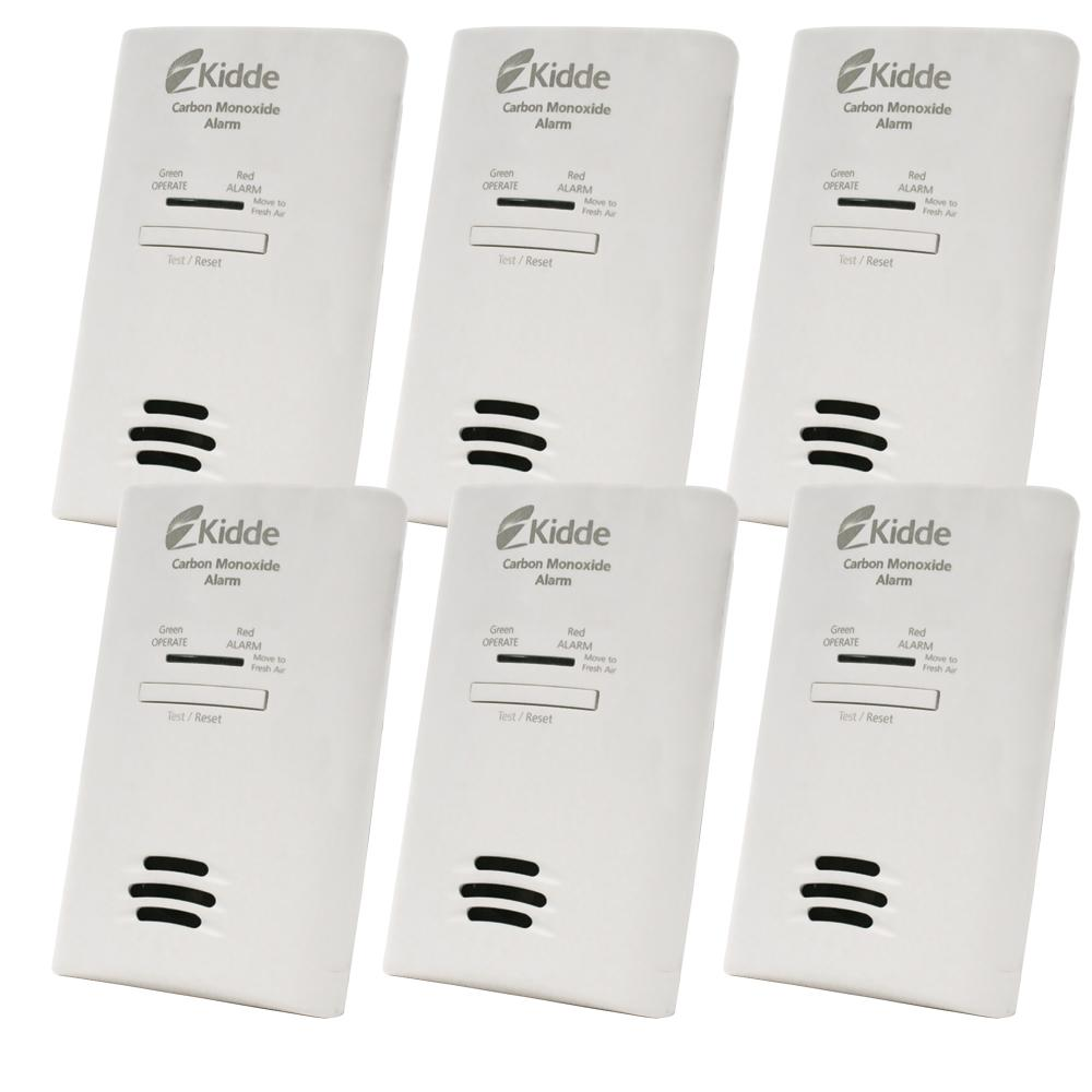 Plug-In Carbon Monoxide Detector with AA Battery Backup (6-pack)