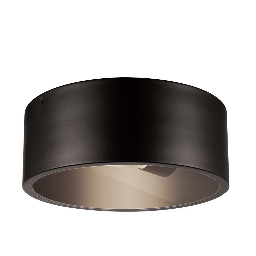 Teagan 1-Light Dark Bronze Outdoor Indoor Flush Mount Ceiling Light