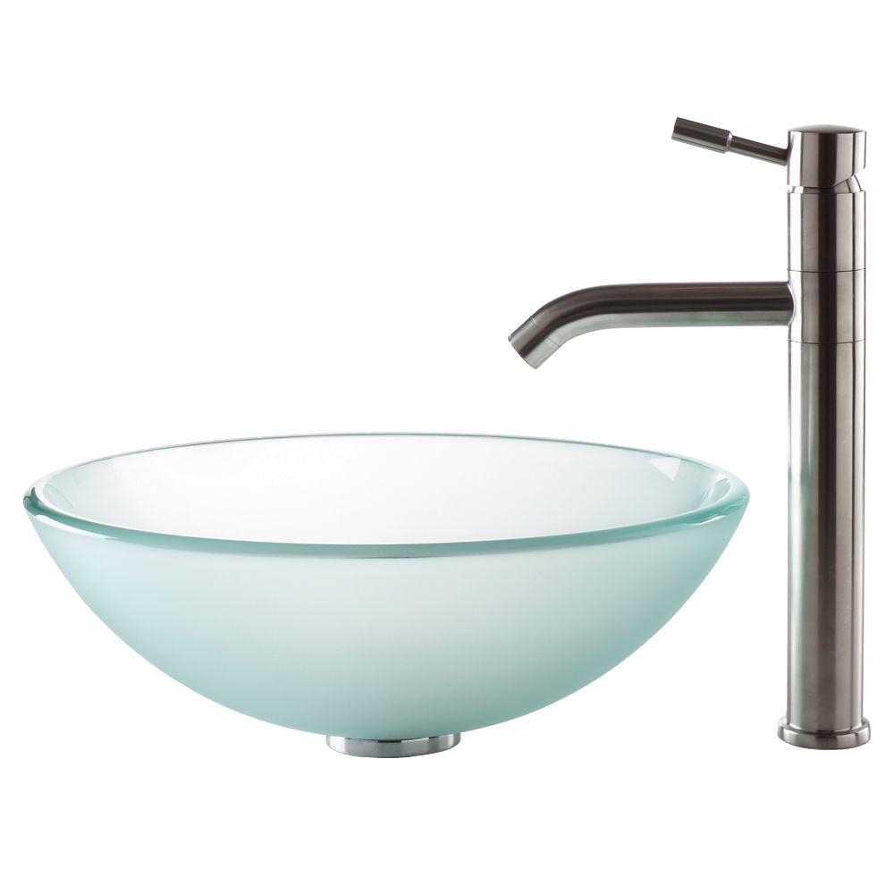 KRAUS Vessel Sink in Frosted Glass with Aldo Faucet in Stainless Steel