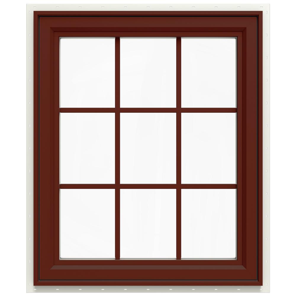 29.5 in. x 35.5 in. V-4500 Series Left-Hand Casement Vinyl Window with Grids - Red