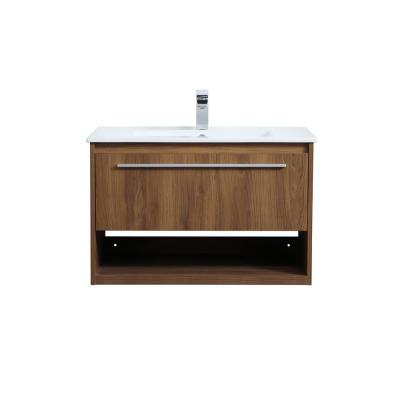 Timeless Home 30 in. W x 18.31 in. D x 19.69 in. H Single Bathroom Vanity in Walnut Brown with Porcelain