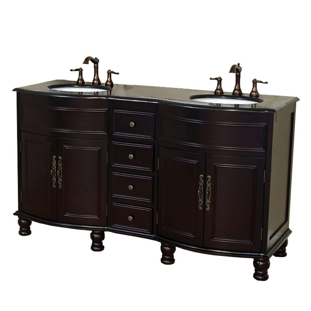 Cambridge BG 62 in. Double Vanity in Dark Mahogany with Granite