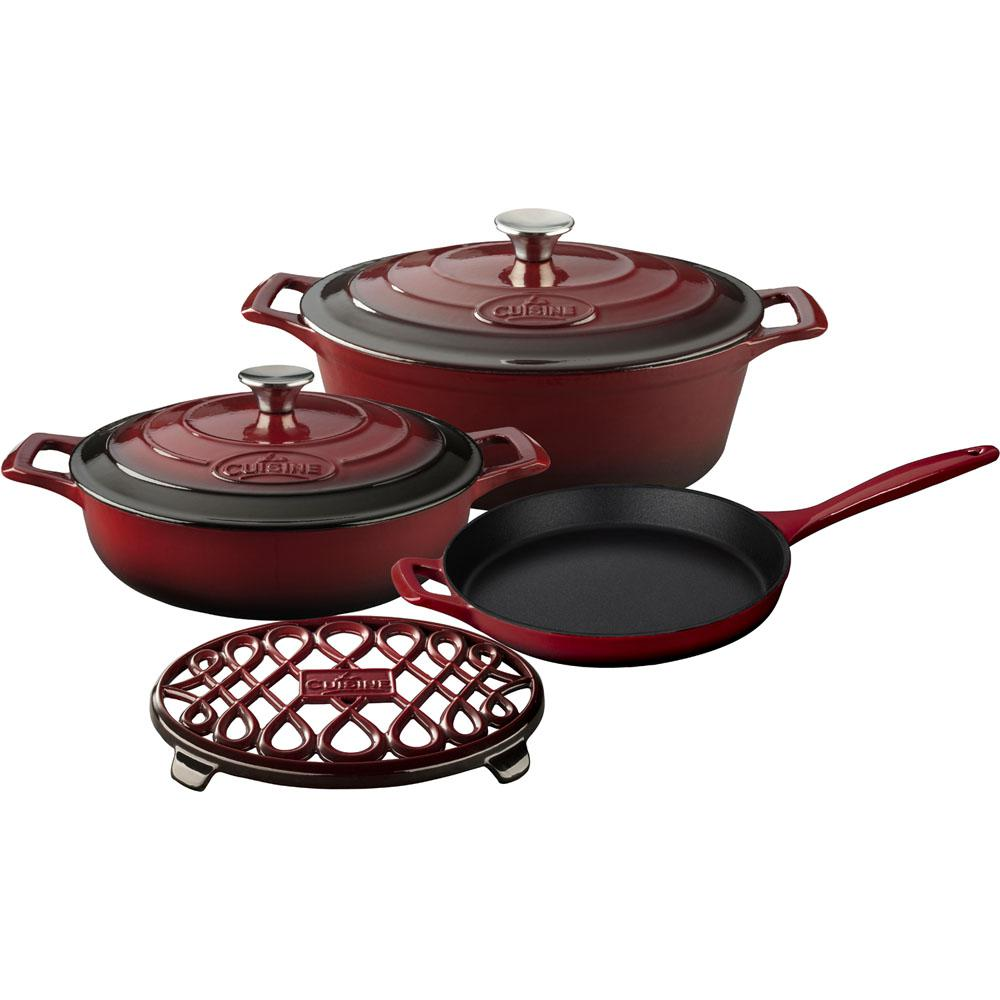 PRO 6-Piece Enameled Cast Iron Cookware Set with Saute, Skillet and